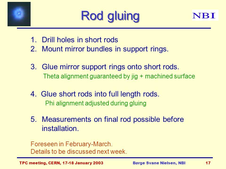 TPC meeting, CERN, 17-18 January 2003Børge Svane Nielsen, NBI17 Rod gluing 1.Drill holes in short rods 2.Mount mirror bundles in support rings.