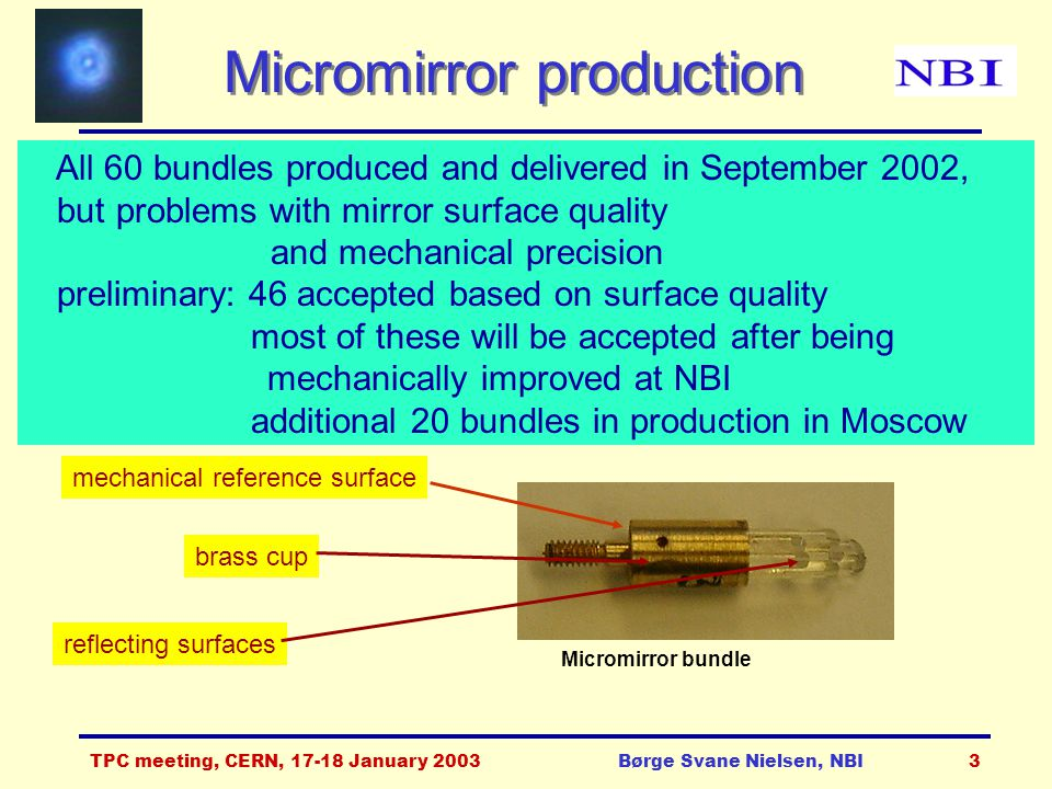 TPC meeting, CERN, 17-18 January 2003Børge Svane Nielsen, NBI4 Mirror surfaces (1) Looked at all mirrors in microscope.