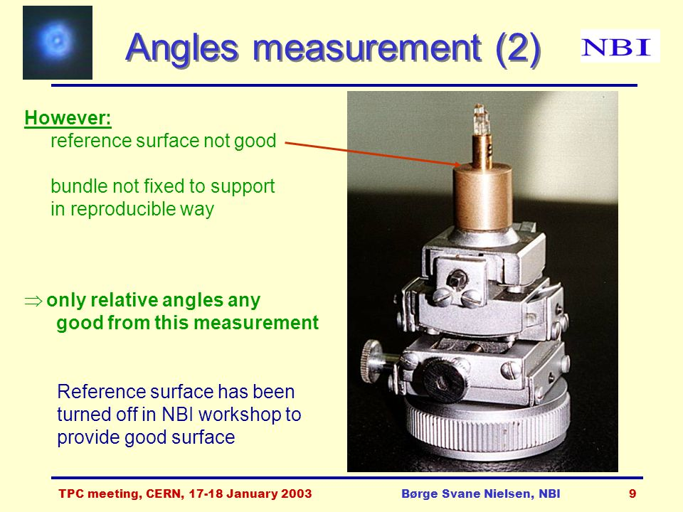 TPC meeting, CERN, 17-18 January 2003Børge Svane Nielsen, NBI9 Angles measurement (2) However: reference surface not good bundle not fixed to support in reproducible way  only relative angles any good from this measurement Reference surface has been turned off in NBI workshop to provide good surface