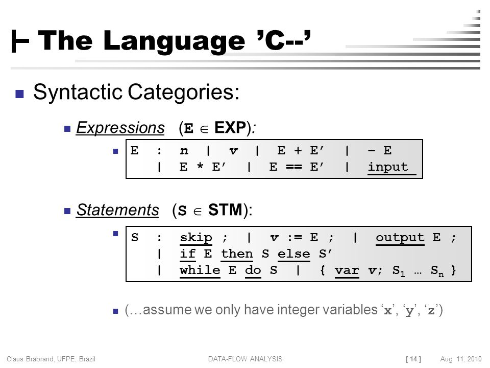 [ 14 ] Claus Brabrand, UFPE, Brazil Aug 11, 2010DATA-FLOW ANALYSIS The Language 'C--' Syntactic Categories: Expressions ( E  EXP): Statements ( S  S