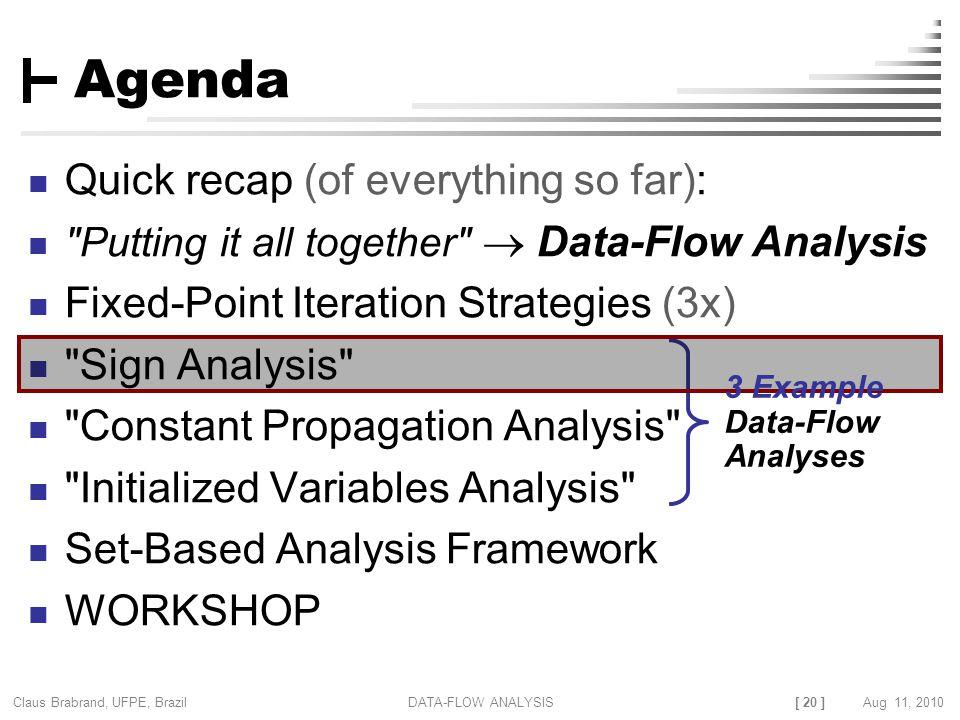 [ 20 ] Claus Brabrand, UFPE, Brazil Aug 11, 2010DATA-FLOW ANALYSIS Agenda Quick recap (of everything so far):