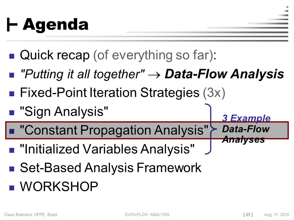 [ 25 ] Claus Brabrand, UFPE, Brazil Aug 11, 2010DATA-FLOW ANALYSIS Agenda Quick recap (of everything so far): Putting it all together  Data-Flow Analysis Fixed-Point Iteration Strategies (3x) Sign Analysis Constant Propagation Analysis Initialized Variables Analysis Set-Based Analysis Framework WORKSHOP 3 Example Data-Flow Analyses