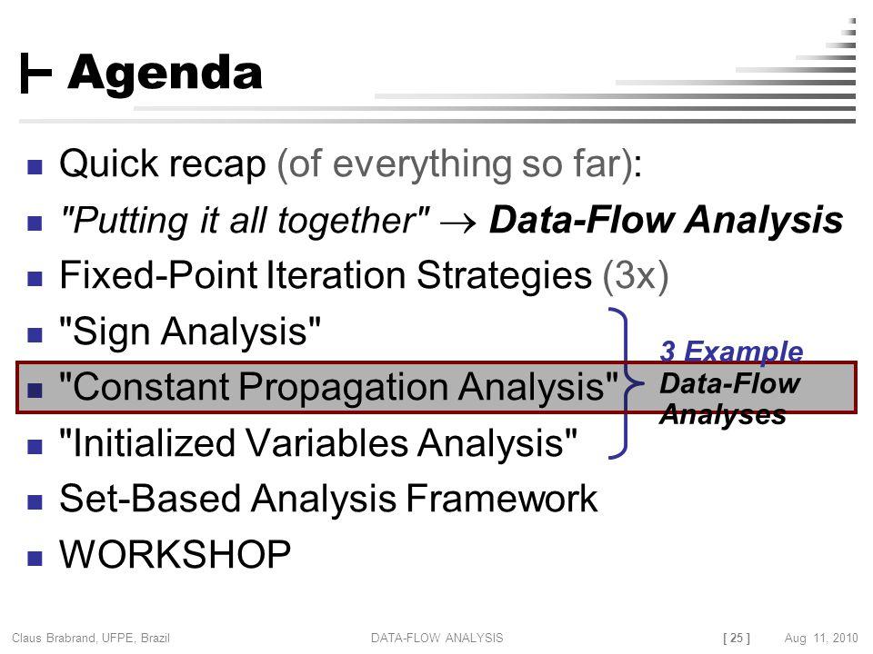 [ 25 ] Claus Brabrand, UFPE, Brazil Aug 11, 2010DATA-FLOW ANALYSIS Agenda Quick recap (of everything so far):