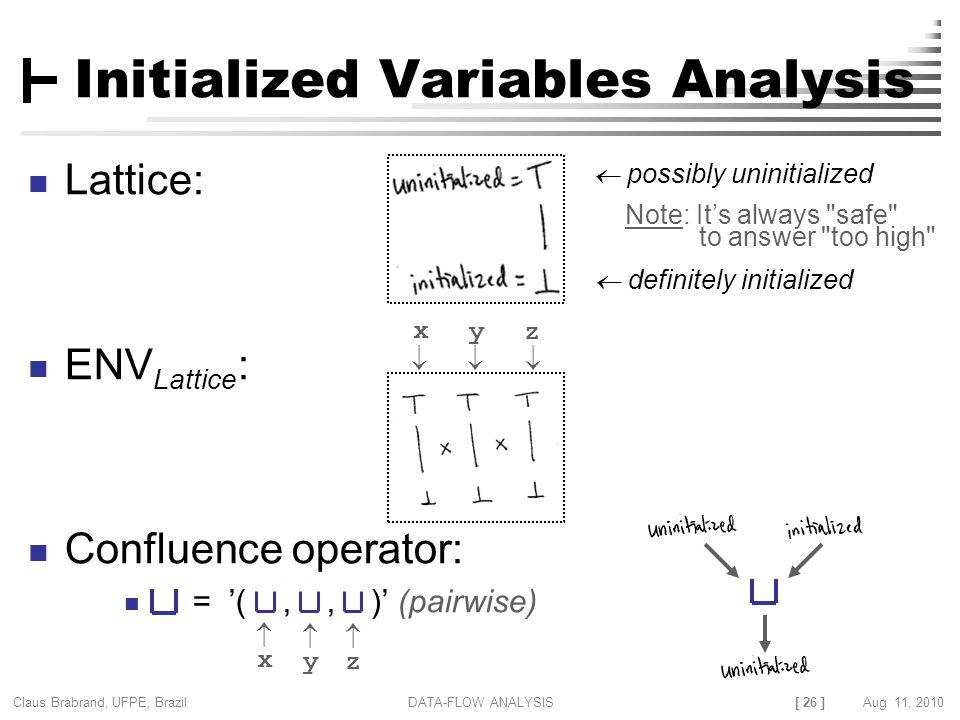 [ 26 ] Claus Brabrand, UFPE, Brazil Aug 11, 2010DATA-FLOW ANALYSIS Initialized Variables Analysis Lattice: ENV Lattice : Confluence operator: = '(,, )
