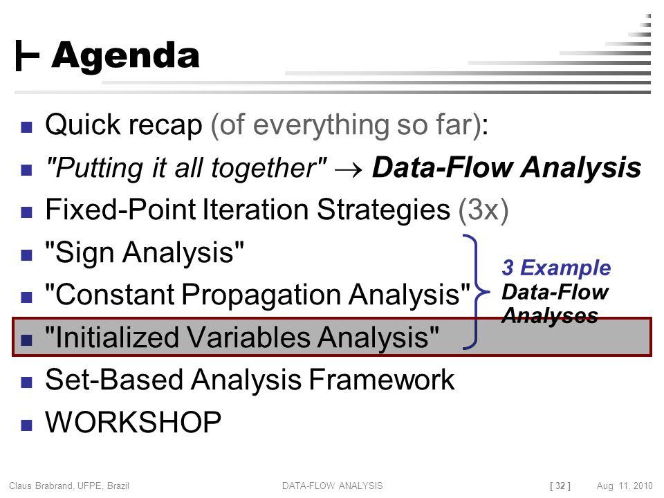 [ 32 ] Claus Brabrand, UFPE, Brazil Aug 11, 2010DATA-FLOW ANALYSIS Agenda Quick recap (of everything so far):