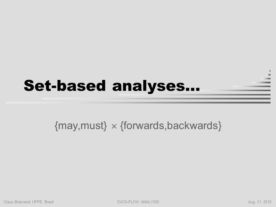 Claus Brabrand, UFPE, Brazil Aug 11, 2010DATA-FLOW ANALYSIS Set-based analyses… {may,must}  {forwards,backwards}