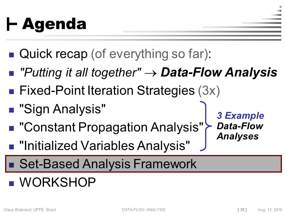 [ 38 ] Claus Brabrand, UFPE, Brazil Aug 11, 2010DATA-FLOW ANALYSIS Agenda Quick recap (of everything so far):