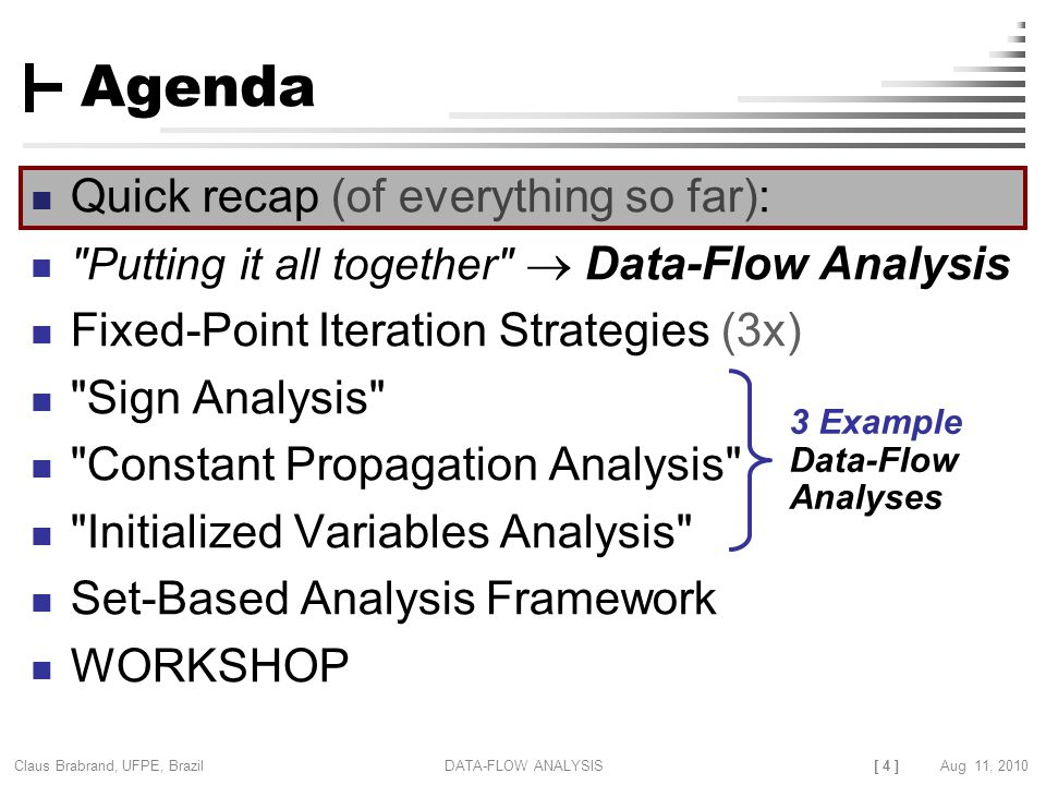 [ 4 ] Claus Brabrand, UFPE, Brazil Aug 11, 2010DATA-FLOW ANALYSIS Agenda Quick recap (of everything so far): Putting it all together  Data-Flow Analysis Fixed-Point Iteration Strategies (3x) Sign Analysis Constant Propagation Analysis Initialized Variables Analysis Set-Based Analysis Framework WORKSHOP 3 Example Data-Flow Analyses