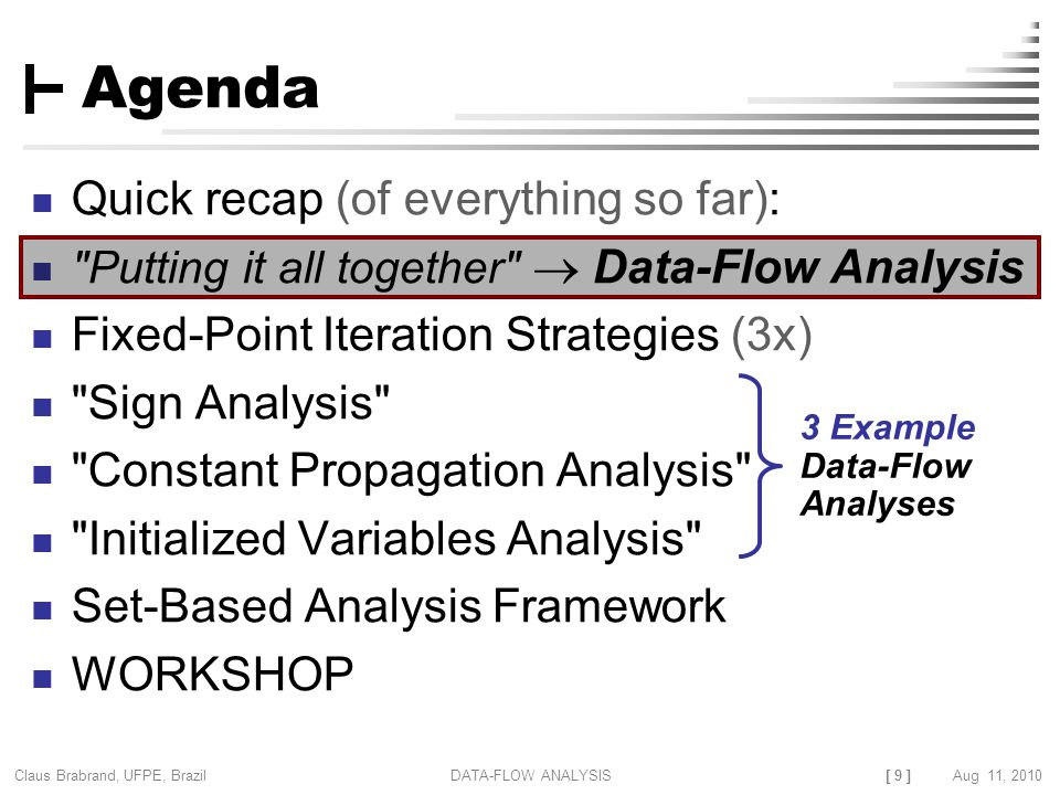[ 9 ] Claus Brabrand, UFPE, Brazil Aug 11, 2010DATA-FLOW ANALYSIS Agenda Quick recap (of everything so far): Putting it all together  Data-Flow Analysis Fixed-Point Iteration Strategies (3x) Sign Analysis Constant Propagation Analysis Initialized Variables Analysis Set-Based Analysis Framework WORKSHOP 3 Example Data-Flow Analyses