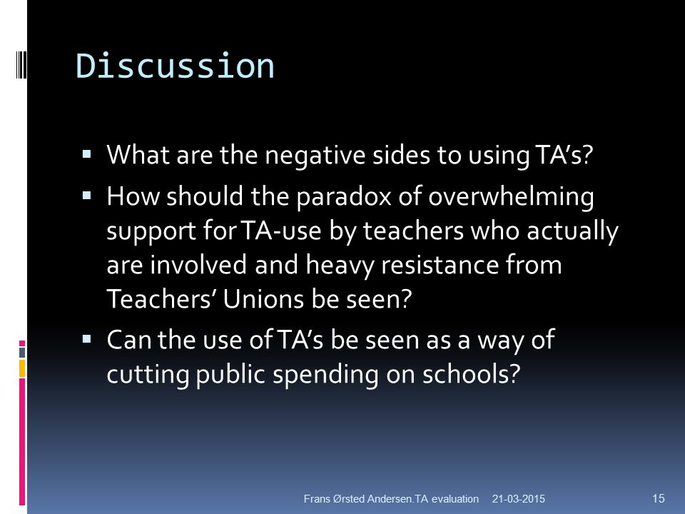 Discussion  What are the negative sides to using TA's.