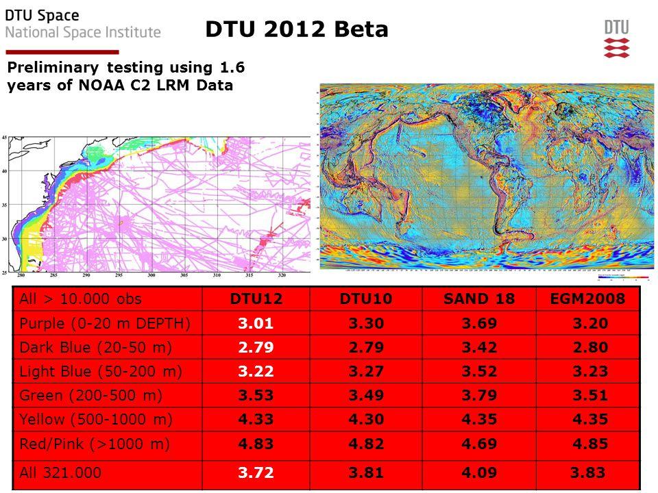 EGU Vienna, April 2012 12DTU Space, Technical University of Denmark Coastal regions heavily improved All > 10.000 obsDTU12DTU10SAND 18EGM2008 Purple (0-20 m DEPTH)3.013.303.69 3.20 Dark Blue (20-50 m)2.79 3.42 2.80 Light Blue (50-200 m)3.223.273.52 3.23 Green (200-500 m)3.533.493.79 3.51 Yellow (500-1000 m)4.334.304.35 Red/Pink (>1000 m)4.834.824.69 4.85 All 321.0003.723.814.093.83 DTU 2012 Beta Preliminary testing using 1.6 years of NOAA C2 LRM Data