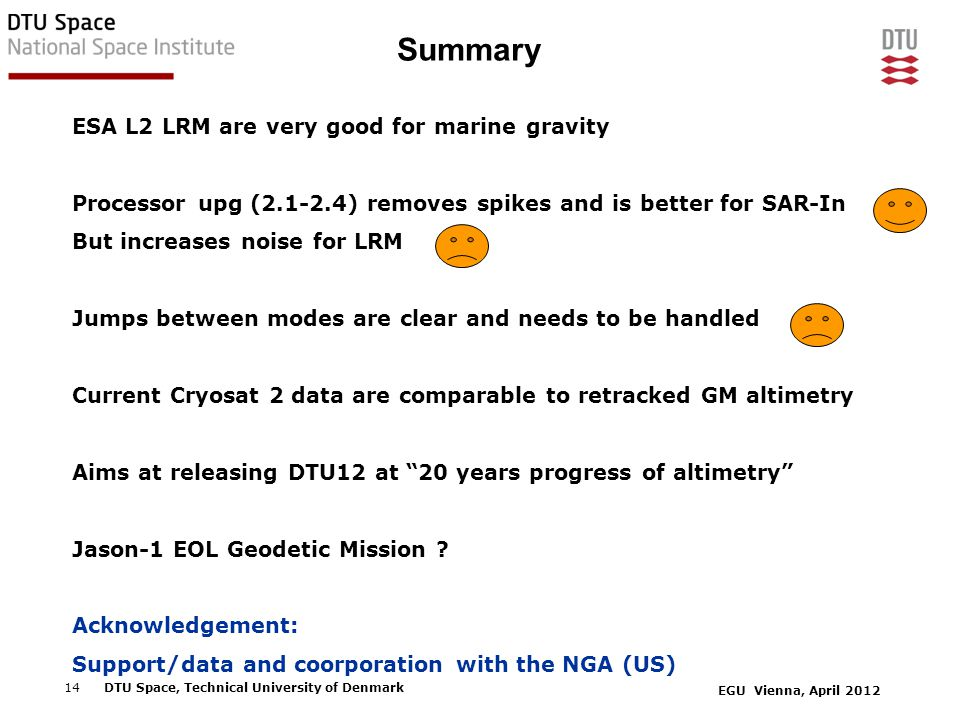 EGU Vienna, April 2012 14DTU Space, Technical University of Denmark Summary ESA L2 LRM are very good for marine gravity Processor upg (2.1-2.4) removes spikes and is better for SAR-In But increases noise for LRM Jumps between modes are clear and needs to be handled Current Cryosat 2 data are comparable to retracked GM altimetry Aims at releasing DTU12 at 20 years progress of altimetry Jason-1 EOL Geodetic Mission .