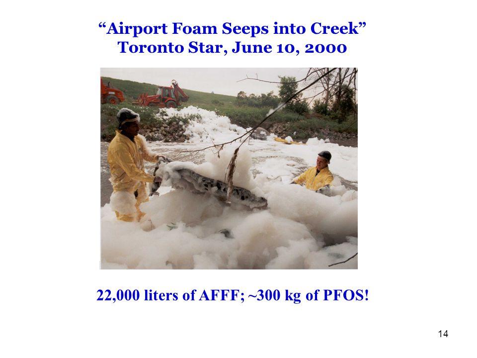 14 22,000 liters of AFFF; ~300 kg of PFOS.