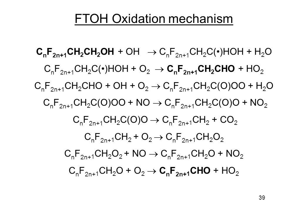39 FTOH Oxidation mechanism C n F 2n+1 CH 2 CH 2 OH + OH  C n F 2n+1 CH 2 C()HOH + H 2 O C n F 2n+1 CH 2 C()HOH + O 2  C n F 2n+1 CH 2 CHO + HO 2 C n F 2n+1 CH 2 CHO + OH + O 2  C n F 2n+1 CH 2 C(O)OO + H 2 O C n F 2n+1 CH 2 C(O)OO + NO  C n F 2n+1 CH 2 C(O)O + NO 2 C n F 2n+1 CH 2 C(O)O  C n F 2n+ 1 CH 2 + CO 2 C n F 2n+ 1 CH 2 + O 2  C n F 2n+ 1 CH 2 O 2 C n F 2n+ 1 CH 2 O 2 + NO  C n F 2n+ 1 CH 2 O + NO 2 C n F 2n+ 1 CH 2 O + O 2  C n F 2n+ 1 CHO + HO 2