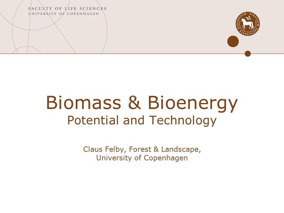 Biomass & Bioenergy Potential and Technology Claus Felby, Forest & Landscape, University of Copenhagen