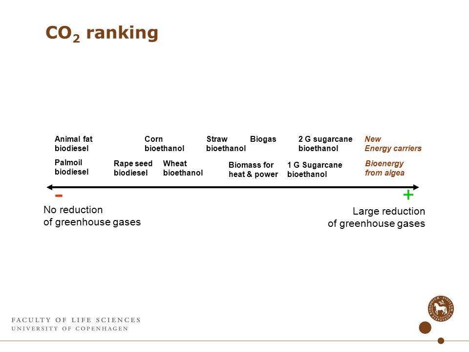 CO 2 ranking - + No reduction of greenhouse gases Large reduction of greenhouse gases Palmoil biodiesel Rape seed biodiesel Corn bioethanol Wheat bioethanol Straw bioethanol Biomass for heat & power Bioenergy from algea New Energy carriers Animal fat biodiesel 2 G sugarcane bioethanol 1 G Sugarcane bioethanol Biogas