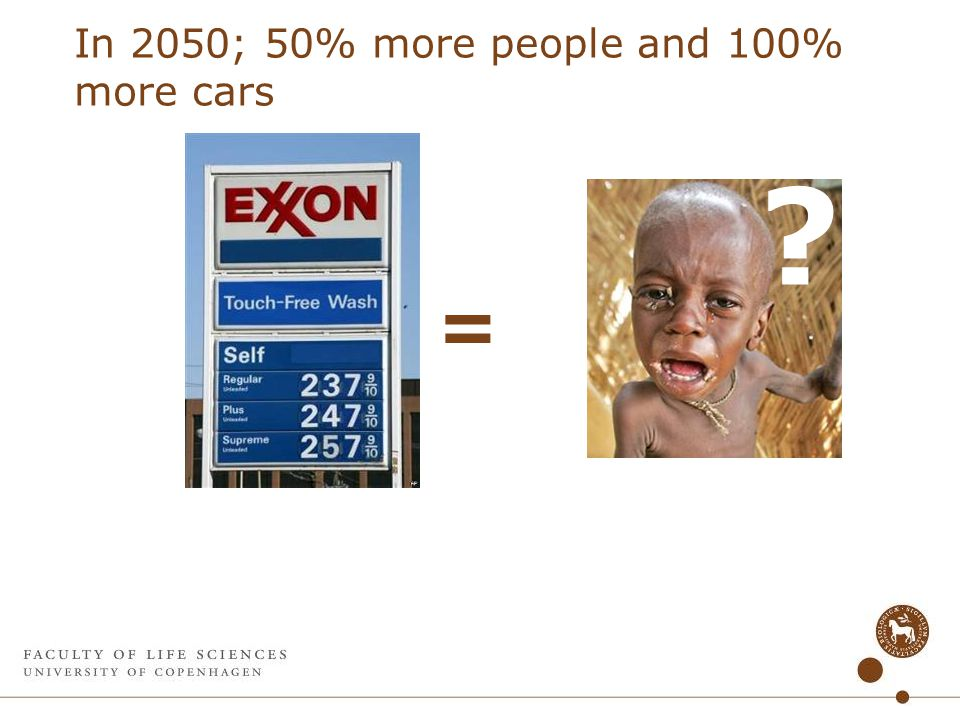 In 2050; 50% more people and 100% more cars =