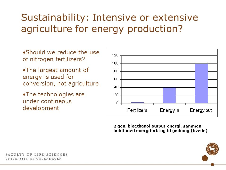 Sustainability: Intensive or extensive agriculture for energy production.
