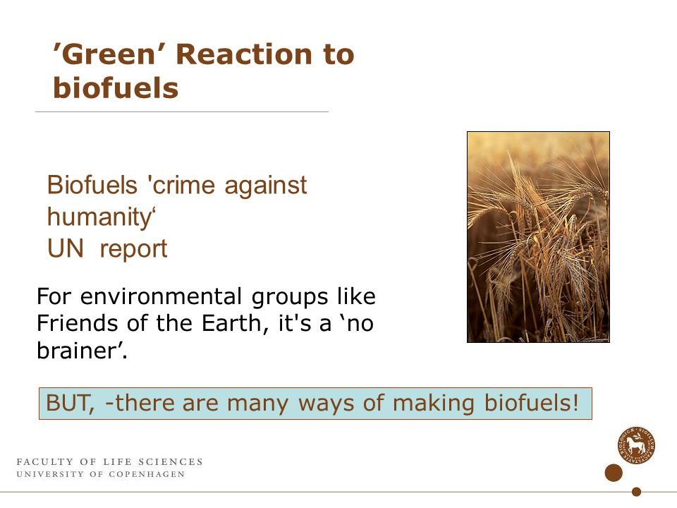 'Green' Reaction to biofuels Biofuels crime against humanity' UN report For environmental groups like Friends of the Earth, it s a 'no brainer'.