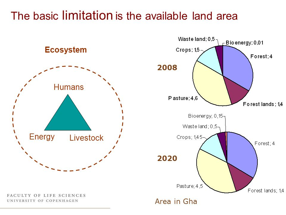The basic limitation is the available land area Humans Energy Livestock Ecosystem 2008 2020 Area in Gha