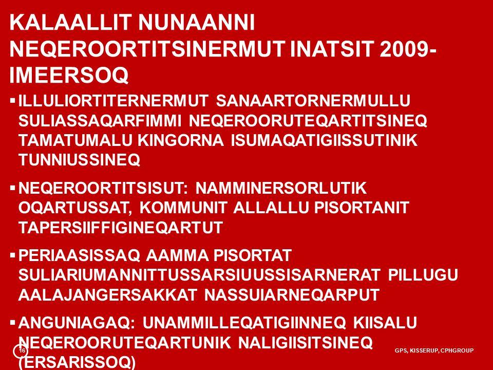 16GPS, KISSERUP, CPHGROUP KALAALLIT NUNAANNI NEQEROORTITSINERMUT INATSIT 2009- IMEERSOQ  ILLULIORTITERNERMUT SANAARTORNERMULLU SULIASSAQARFIMMI NEQEROORUTEQARTITSINEQ TAMATUMALU KINGORNA ISUMAQATIGIISSUTINIK TUNNIUSSINEQ  NEQEROORTITSISUT: NAMMINERSORLUTIK OQARTUSSAT, KOMMUNIT ALLALLU PISORTANIT TAPERSIIFFIGINEQARTUT  PERIAASISSAQ AAMMA PISORTAT SULIARIUMANNITTUSSARSIUUSSISARNERAT PILLUGU AALAJANGERSAKKAT NASSUIARNEQARPUT  ANGUNIAGAQ: UNAMMILLEQATIGIINNEQ KIISALU NEQEROORUTEQARTUNIK NALIGIISITSINEQ (ERSARISSOQ)