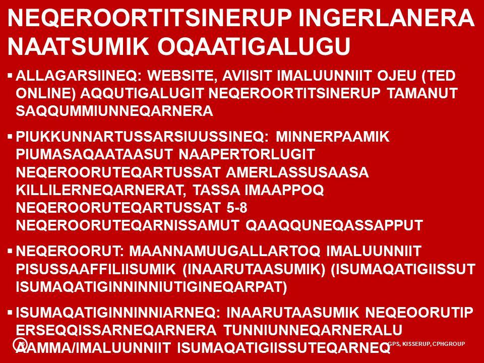28GPS, KISSERUP, CPHGROUP NEQEROORTITSINERUP INGERLANERA NAATSUMIK OQAATIGALUGU  ALLAGARSIINEQ: WEBSITE, AVIISIT IMALUUNNIIT OJEU (TED ONLINE) AQQUTIGALUGIT NEQEROORTITSINERUP TAMANUT SAQQUMMIUNNEQARNERA  PIUKKUNNARTUSSARSIUUSSINEQ: MINNERPAAMIK PIUMASAQAATAASUT NAAPERTORLUGIT NEQEROORUTEQARTUSSAT AMERLASSUSAASA KILLILERNEQARNERAT, TASSA IMAAPPOQ NEQEROORUTEQARTUSSAT 5-8 NEQEROORUTEQARNISSAMUT QAAQQUNEQASSAPPUT  NEQEROORUT: MAANNAMUUGALLARTOQ IMALUUNNIIT PISUSSAAFFILIISUMIK (INAARUTAASUMIK) (ISUMAQATIGIISSUT ISUMAQATIGINNINNIUTIGINEQARPAT)  ISUMAQATIGINNINNIARNEQ: INAARUTAASUMIK NEQEOORUTIP ERSEQQISSARNEQARNERA TUNNIUNNEQARNERALU AAMMA/IMALUUNNIIT ISUMAQATIGIISSUTEQARNEQ