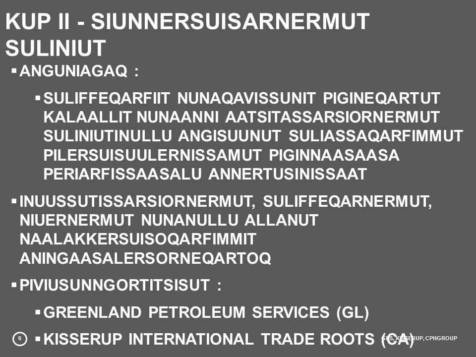 6GPS, KISSERUP, CPHGROUP KUP II - SIUNNERSUISARNERMUT SULINIUT  ANGUNIAGAQ :  SULIFFEQARFIIT NUNAQAVISSUNIT PIGINEQARTUT KALAALLIT NUNAANNI AATSITASSARSIORNERMUT SULINIUTINULLU ANGISUUNUT SULIASSAQARFIMMUT PILERSUISUULERNISSAMUT PIGINNAASAASA PERIARFISSAASALU ANNERTUSINISSAAT  INUUSSUTISSARSIORNERMUT, SULIFFEQARNERMUT, NIUERNERMUT NUNANULLU ALLANUT NAALAKKERSUISOQARFIMMIT ANINGAASALERSORNEQARTOQ  PIVIUSUNNGORTITSISUT :  GREENLAND PETROLEUM SERVICES (GL)  KISSERUP INTERNATIONAL TRADE ROOTS (CA)  COPENHAGEN GROUP (DK)