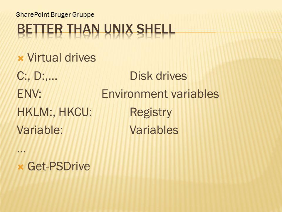 SharePoint Bruger Gruppe  Virtual drives C:, D:,…Disk drives ENV:Environment variables HKLM:, HKCU:Registry Variable:Variables …  Get-PSDrive