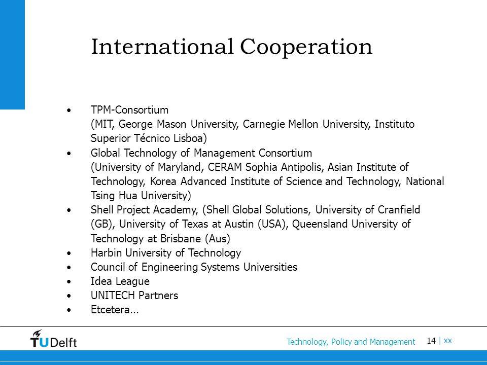 14 Titel van de presentatie | xx International Cooperation TPM-Consortium (MIT, George Mason University, Carnegie Mellon University, Instituto Superio