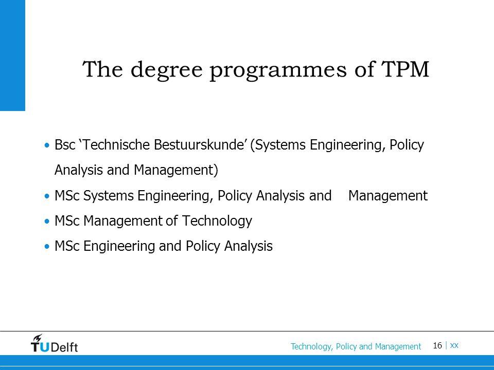 16 Titel van de presentatie | xx The degree programmes of TPM Bsc 'Technische Bestuurskunde' (Systems Engineering, Policy Analysis and Management) MSc