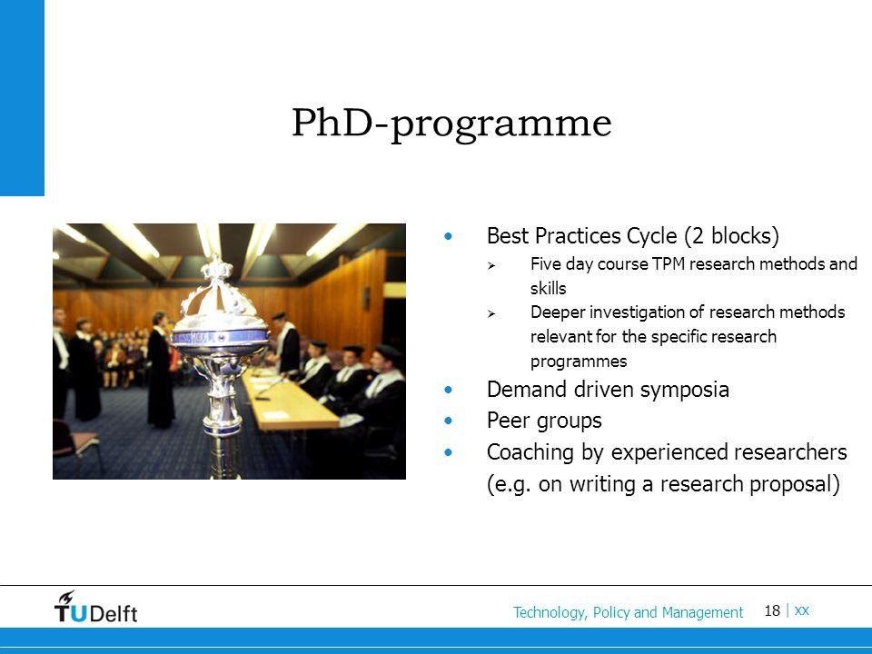 18 Titel van de presentatie | xx PhD-programme Best Practices Cycle (2 blocks)  Five day course TPM research methods and skills  Deeper investigatio