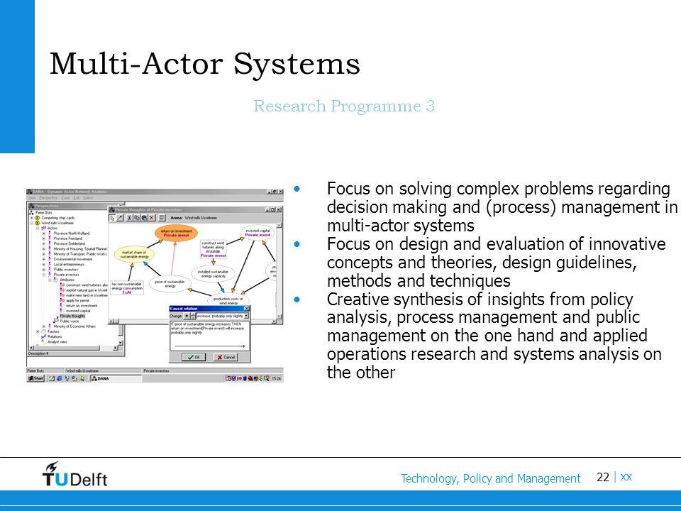 22 Titel van de presentatie | xx Multi-Actor Systems Research Programme 3 Focus on solving complex problems regarding decision making and (process) ma