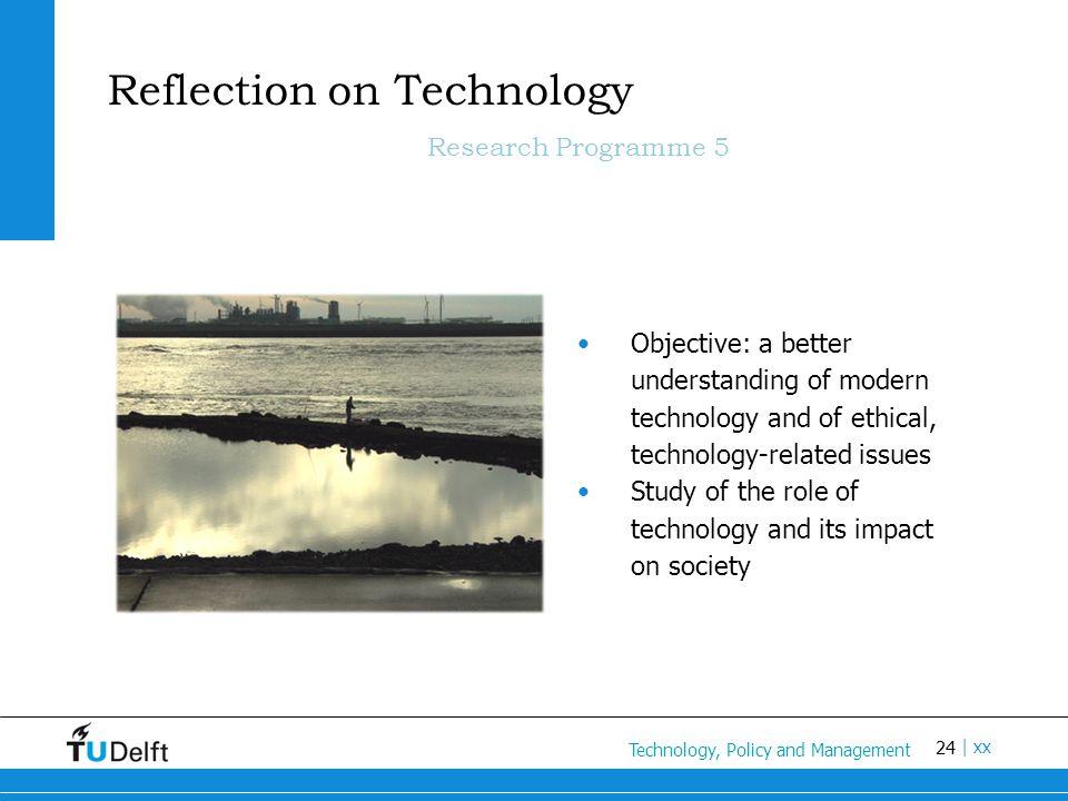 24 Titel van de presentatie | xx Reflection on Technology Research Programme 5 Objective: a better understanding of modern technology and of ethical,