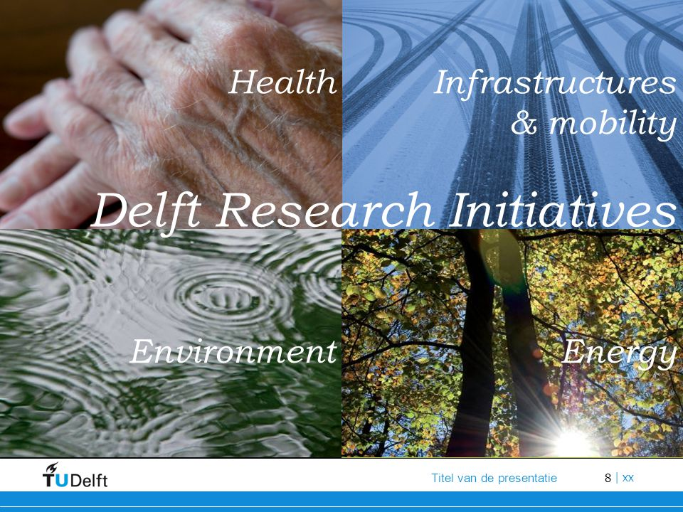 9 Titel van de presentatie | xx Delft Research Initiatives The DRIs foster opportunities for researchers from different faculties to work together on urgent social themes They provide society with better insight into TU Delft's research and bring together research groups from across the campus