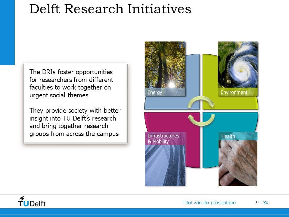 10 Titel van de presentatie | xx TU Delft Challenging the Future Engineers broadly trained Research into urgent societal problems Spin-offs to the market Research facilities for many purposes Brain power from across the world Active and committed students