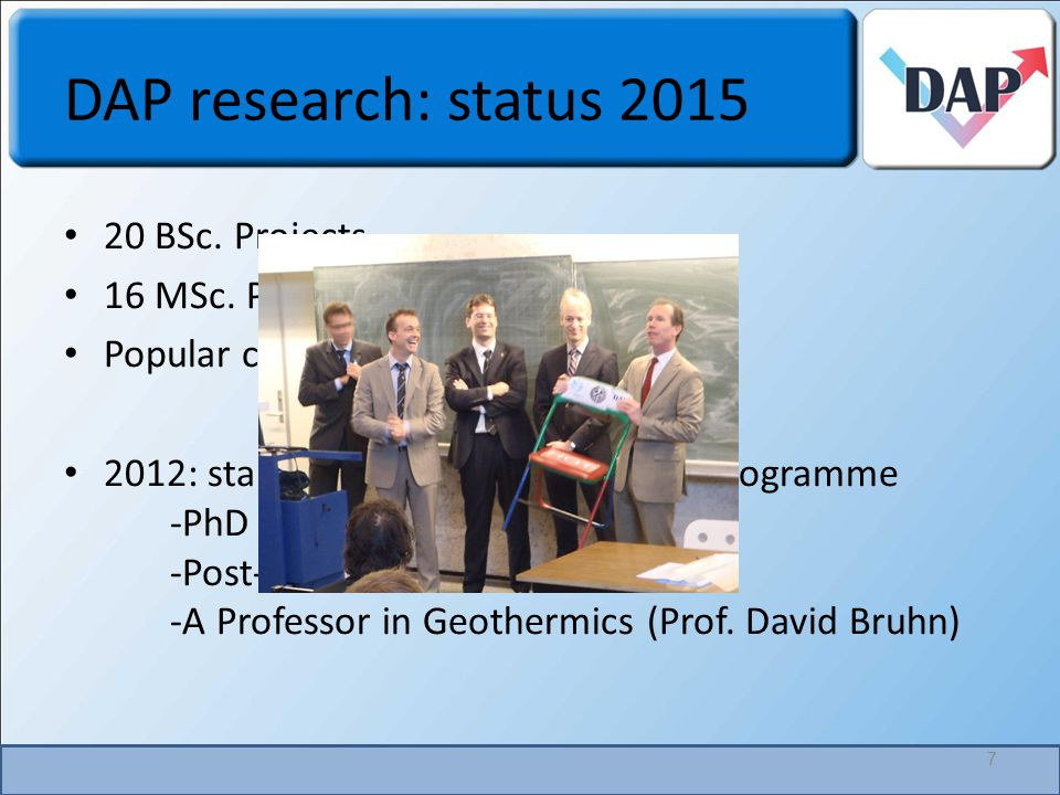 DAP research: status 2015 7 20 BSc. Projects 16 MSc.