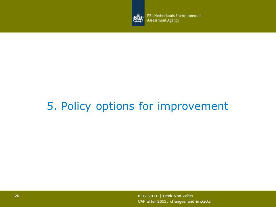 6-12-2011 | Henk van Zeijts CAP after 2013: changes and impacts 20 5. Policy options for improvement