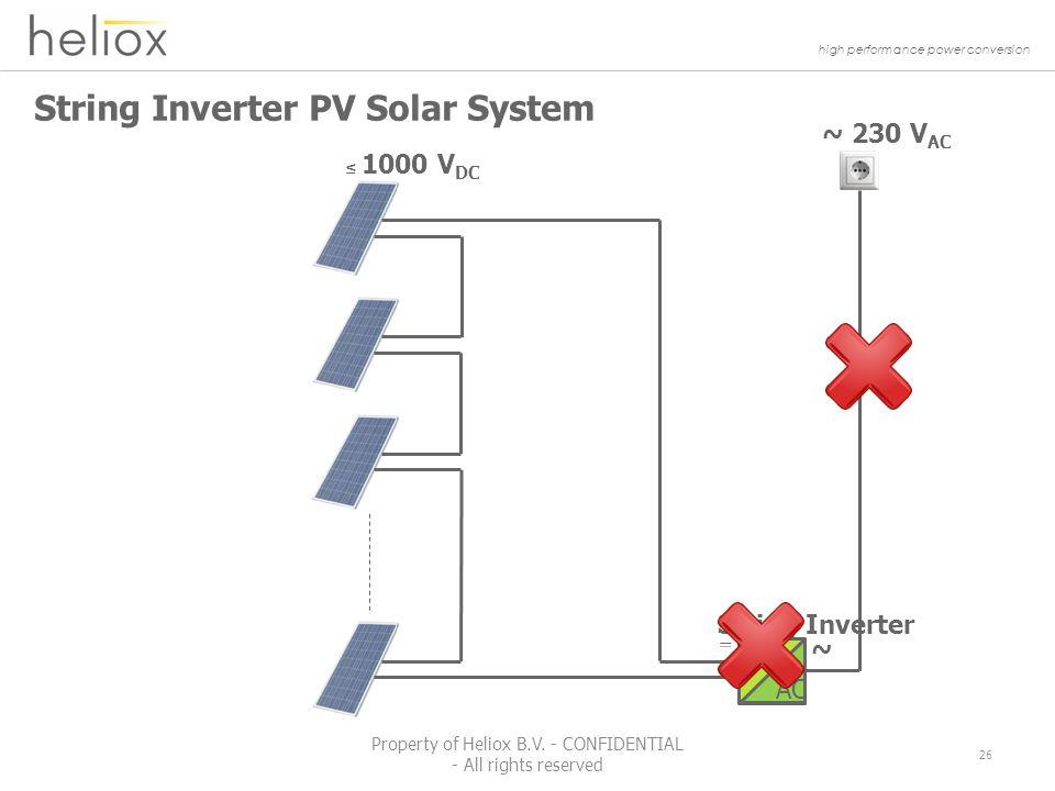 high performance power conversion String Inverter PV Solar System ~ 230 V AC String Inverter ≤ 1000 V DC ~ DC AC 26 Property of Heliox B.V.