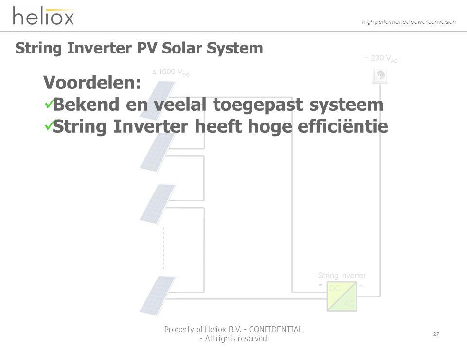 high performance power conversion String Inverter PV Solar System 27 Property of Heliox B.V.