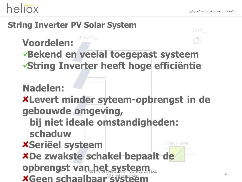 high performance power conversion String Inverter PV Solar System 28 Property of Heliox B.V.