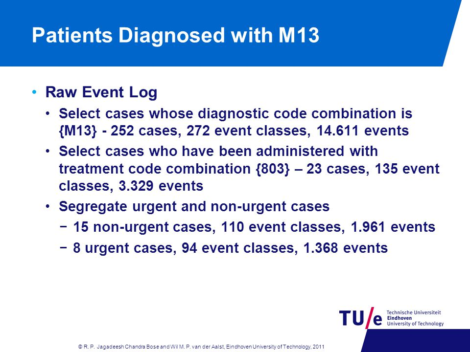 Patients Diagnosed with M13 Raw Event Log Select cases whose diagnostic code combination is {M13} - 252 cases, 272 event classes, 14.611 events Select cases who have been administered with treatment code combination {803} – 23 cases, 135 event classes, 3.329 events Segregate urgent and non-urgent cases −15 non-urgent cases, 110 event classes, 1.961 events −8 urgent cases, 94 event classes, 1.368 events © R.