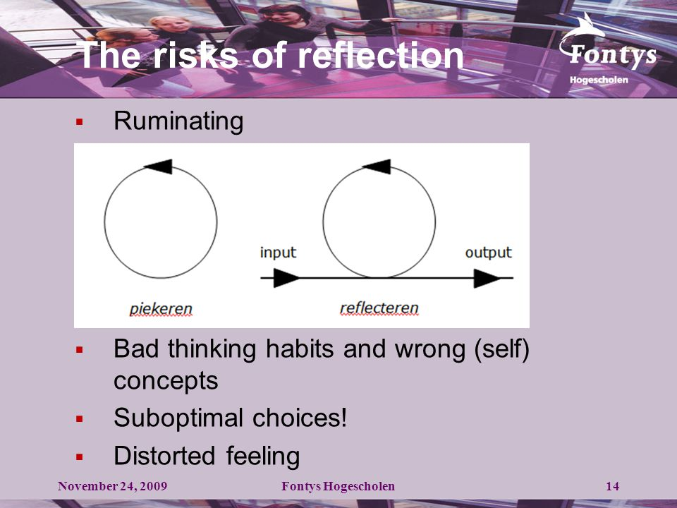 The risks of reflection  Ruminating  Bad thinking habits and wrong (self) concepts  Suboptimal choices.