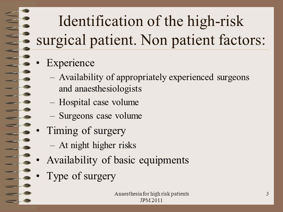 Identification of the high-risk surgical patient.