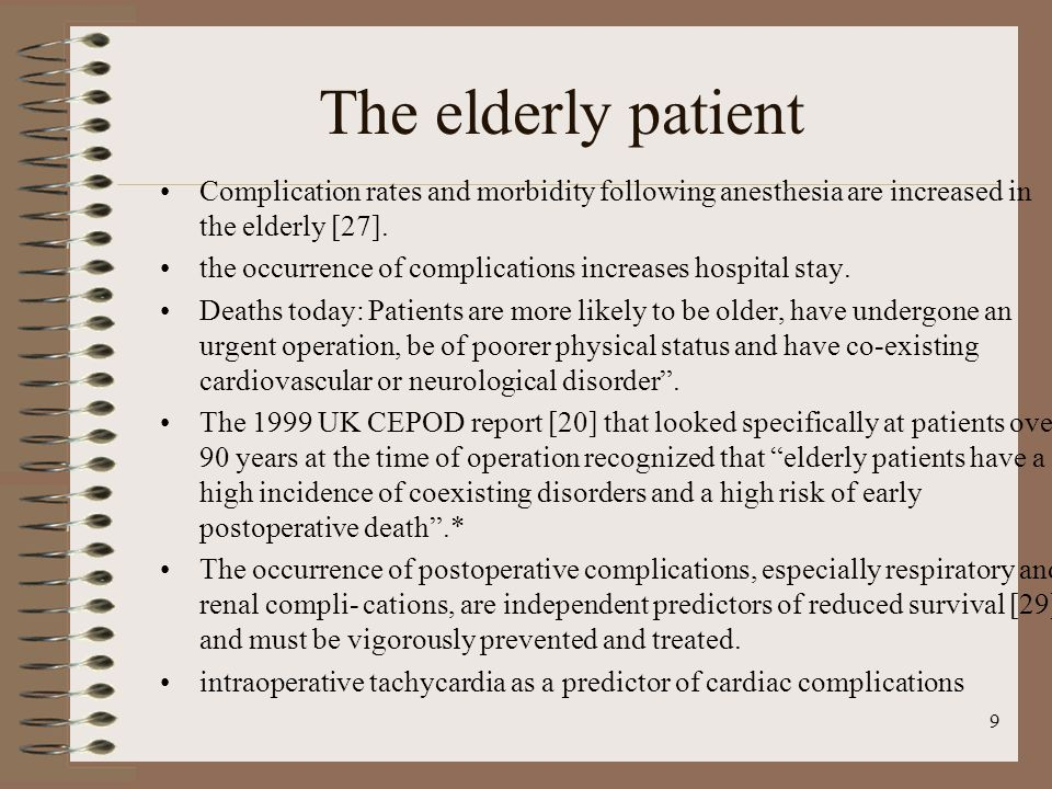 The elderly patient Complication rates and morbidity following anesthesia are increased in the elderly [27].