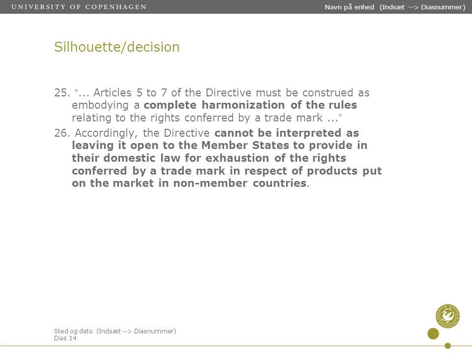 Sted og dato (Indsæt --> Diasnummer) Dias 14 Navn på enhed (Indsæt --> Diasnummer) Silhouette/decision 25.
