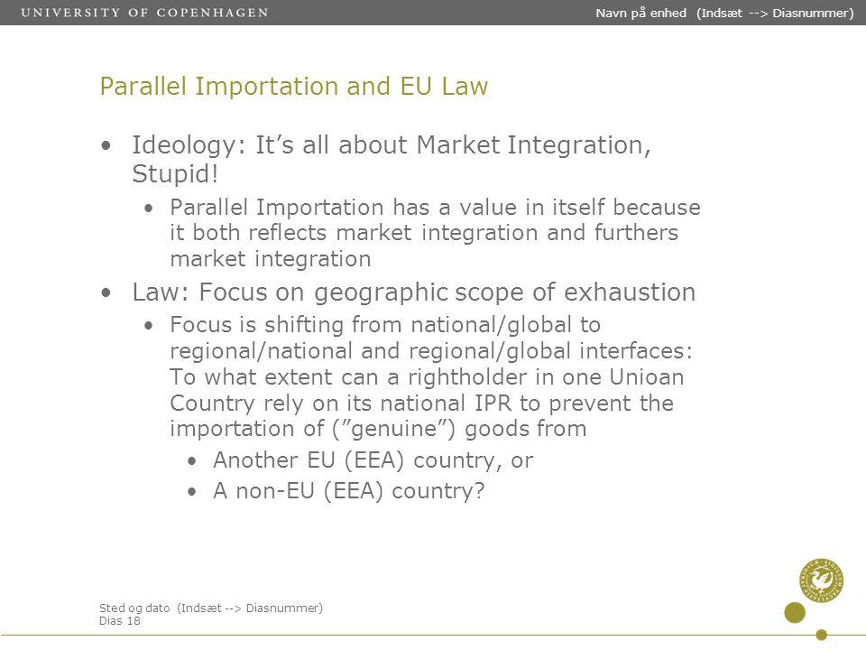 Sted og dato (Indsæt --> Diasnummer) Dias 18 Navn på enhed (Indsæt --> Diasnummer) Parallel Importation and EU Law Ideology: It's all about Market Integration, Stupid.