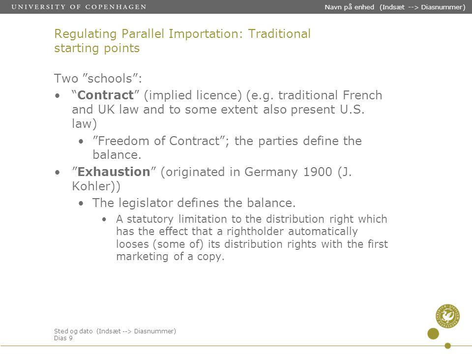 Sted og dato (Indsæt --> Diasnummer) Dias 9 Navn på enhed (Indsæt --> Diasnummer) Regulating Parallel Importation: Traditional starting points Two schools : Contract (implied licence) (e.g.