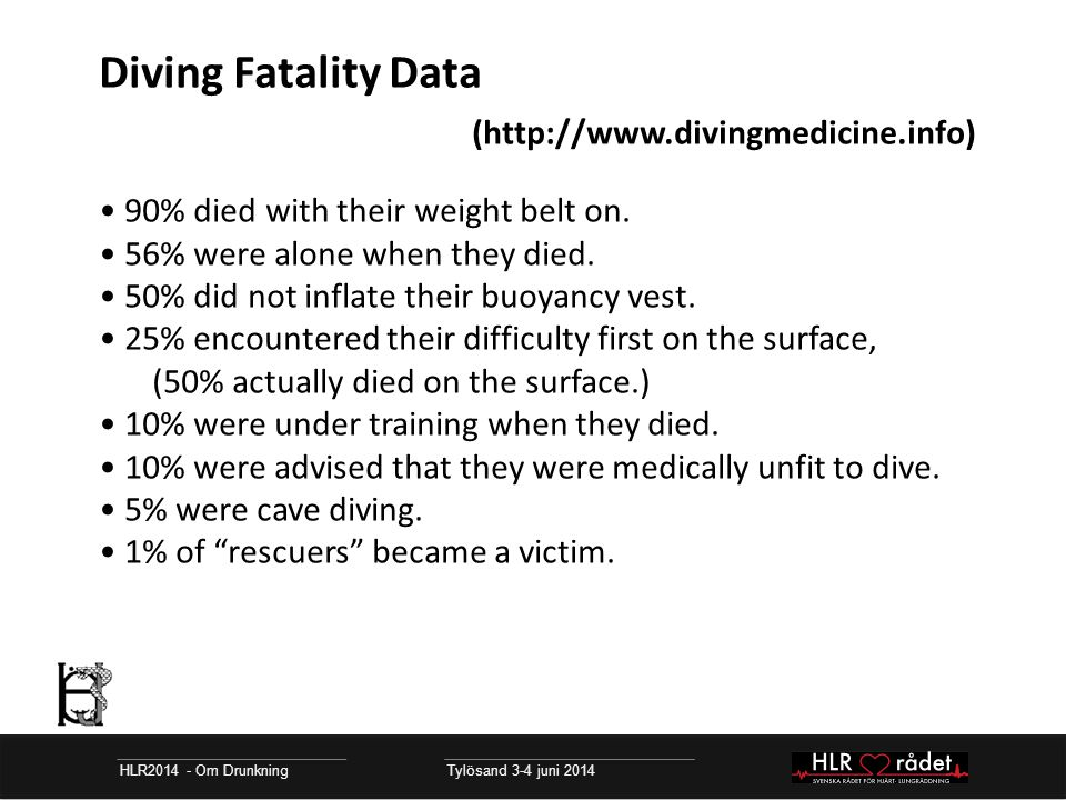 Diving Fatality Data (http://www.divingmedicine.info) 90% died with their weight belt on.