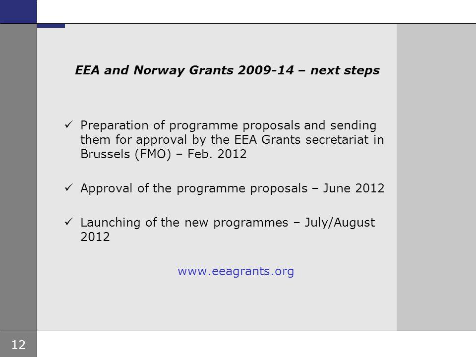 12 Ambassade, sted, tid og avsender Tema 16 pkt EEA and Norway Grants 2009-14 – next steps Preparation of programme proposals and sending them for app