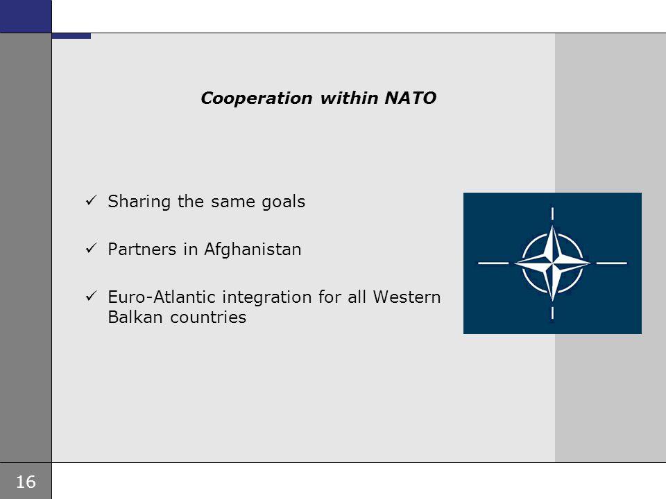 16 Ambassade, sted, tid og avsender Tema 16 pkt Cooperation within NATO Sharing the same goals Partners in Afghanistan Euro-Atlantic integration for a